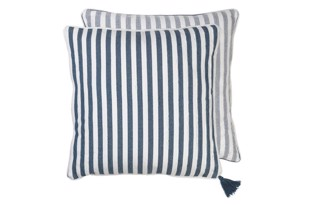 Heavy Herringbone Cotton pude i farven Ocean fra Cozy Living